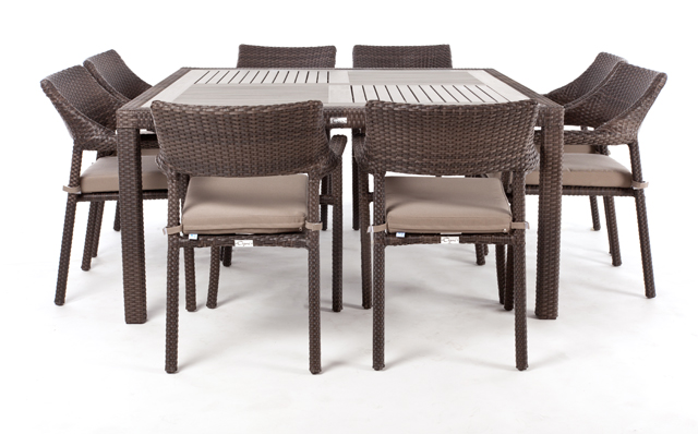 Nico Square Patio Dining Table For 8 With Synthetic Teak Wood Top