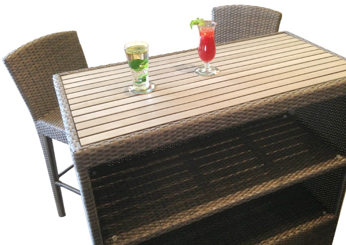 Martini patio bar table with realistic synthetic teak top Synthetic wood patio furniture